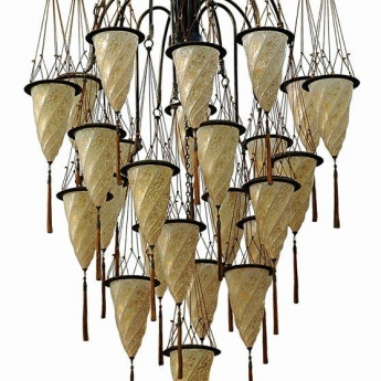 Cesendelli Grande Chandelier Fortuny Lamps And Wrought